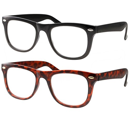 2 Pack High Magnification Reading Glasses Strong Power Readers - 4.00-6.00 Black and Tortoise - Glasses Reading 5.00