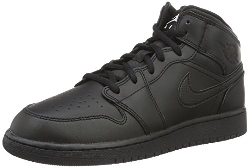 Jordan Nike Kids Air 1 Mid (GS) Black/White Basketball Shoe 4 Kids US (Iv Basketball Shoes)