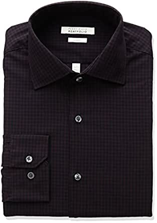 Perry ellis men 39 s slim fit wrinkle free gingham check for Wrinkle free dress shirts amazon