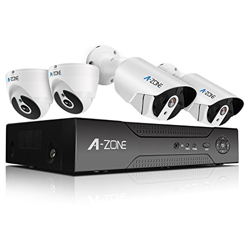 A-ZONE Full HD-TVI Security Camera System 4 Channel 1080P Surveillance DVR with 2x 1080P Weatherproof IP67 Dome Cameras and 2x 1080P Bullet Cameras With Super Nice IR Night Vision,included 1TB HDD by A-ZONE