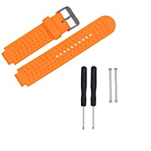 Weinisite Soft Silicone Strap Replacement Watch Band + Lugs For Garmin Forerunner 230/235/220 Watch (Orange)