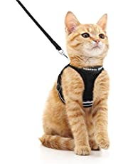rabbitgoo Cat Harness and Leash Set for Walking Escape Proof, Adjustable Soft Kittens Vest with Reflective Strip for Extra Small and Small Cats, Step-in Comfortable Choke-Proof Outdoor Vest Harness