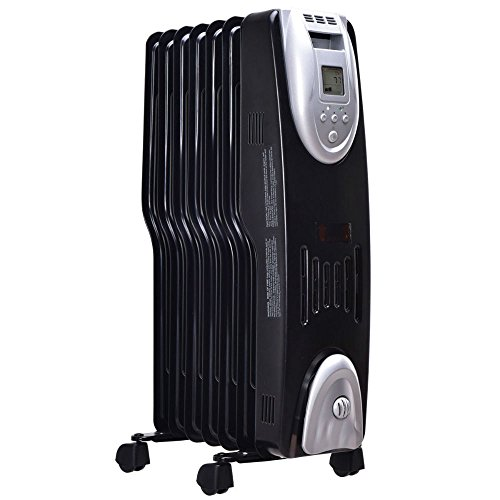 1500w Electric Oil Filled Radiator Heater Safe Digital