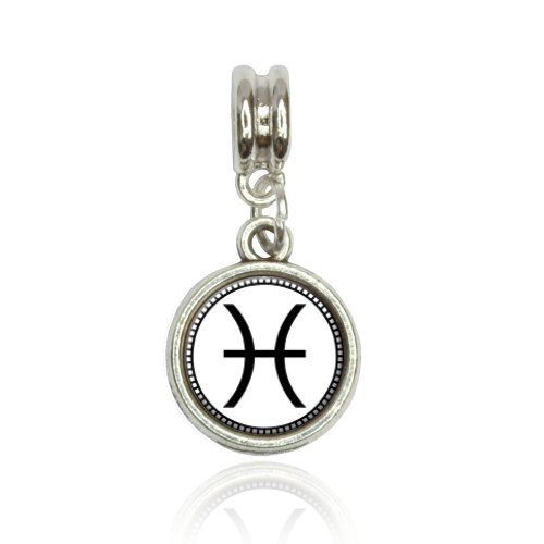 Zodiac Sign Pisces Euro European Italian Style Bracelet Bead (Italian Zodiac Sign Bracelet)