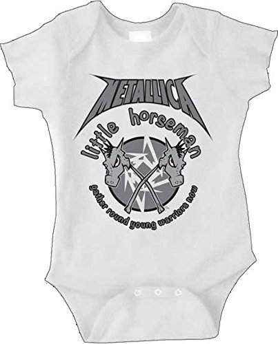 Metallica Little Horseman White Newborn Infant Baby Rock And Roll Creeper Romper  6 Months