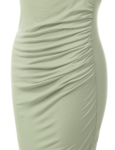 Made Size Doublju in Fitted Tank dustysage Women USA Tulip Hem Awdsd0759 Dress Stretchy Plus for with qAPvU