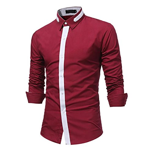 OWMEOT Mens Trendy Slim Fit Two-Toned Checkered Longsleeve Shirt (Red, XL)