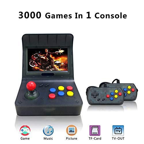 MJKJ Retro Game Console , Handheld Game Console 4.3 Inch 3000 Classic Game Player , TV Output Portable Video Game Console with 2PCS Joystick - Transparent Black by MJKJ (Image #7)