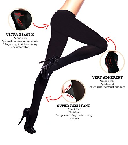 3d Tights (SECOND SKIN 3D Microfiber Tights 100 den | Opaque | Resistent | Very Elastic | Size M | 1 Pair | Black)