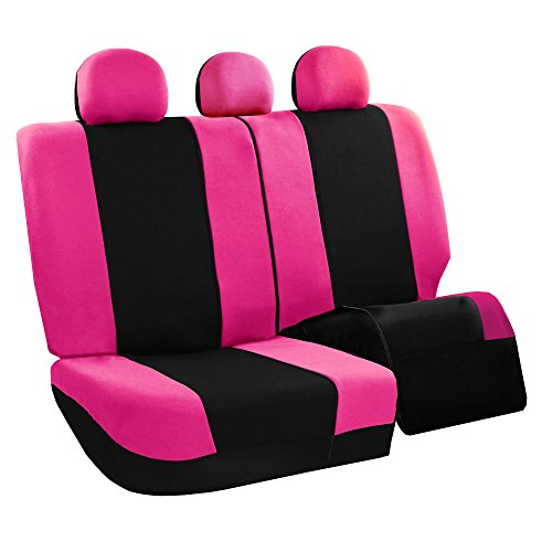 Amazon FH GROUP FB030115 Combo Set Light Breezy Cloth Seat Cover W FH2033 F14407 Floor Mats Pink Black Fit Most Car Truck Suv