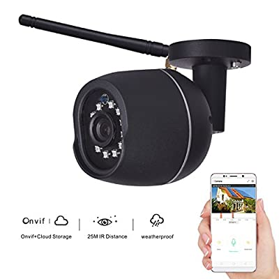 KZUXUN Security Bullet Camera 720P Waterproof Outdoor WIFI Security Surveillance IP Camera Cloud Storage 3.6mm Lens 25m IR Distance with Motion Detection Alarm Onvif Monitor (Black) by KZUXUN