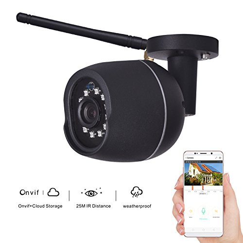 KZUXUN Security Bullet Camera 720P Waterproof Outdoor WIFI Security Surveillance IP Camera Cloud Storage 3.6mm Lens 25m IR Distance with Motion Detection Alarm Onvif Monitor (Black)
