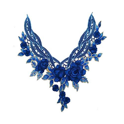 Vi.yo ワッペン アップリケ 刺繍 フラワー モチーフ おしゃれな花 民族風 パッチ 衣類アクセサリー ブルーの商品画像
