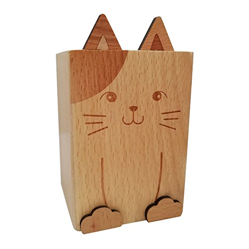 Ren Handcraft Cute Wooden Pencil Holder Silverware Caddy Decorative Cat Pen Cup Utensil Storage Stand