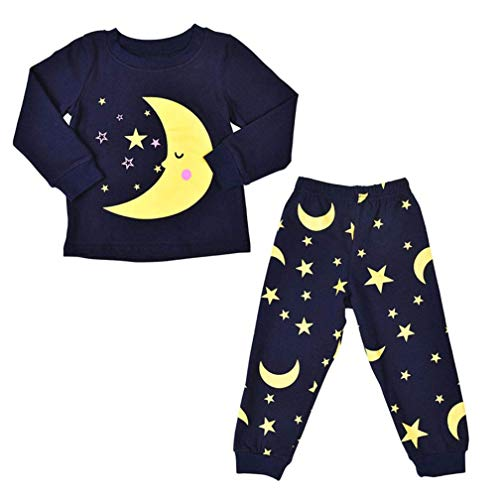 Unisex Toddler Baby Autumn Winter Outfits Moon Star Print Pajamas Set Long Sleeve T-Shirt Tops Pants Home Sleepwear Clothes (Navy, 4T)