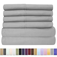 Sweet Home Collection 6 Piece 1500 Thread Count Brushed Microfiber Deep Pocket Sheet Set - 2 Extra Pillow Cases, Great Value,King,Silver
