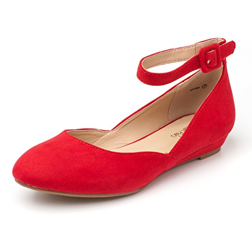 Red Suede Wedge (Dream Pairs Women's Revona Red Suede Low Wedge Ankle Strap Flats Shoes - 6.5 B(M) US)