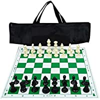 """Tima Best Value Tournament Chess Set 17""""x 17"""" Staunton Chess Pieces and Green Roll-Up Vinyl Chess Board, Plastic Hollow…"""
