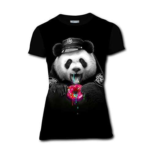 Donut Cop Glutton Panda T-Shirts Tee Shirt for Women Pregnant Tops Round Black (Cop And Donut Costume)