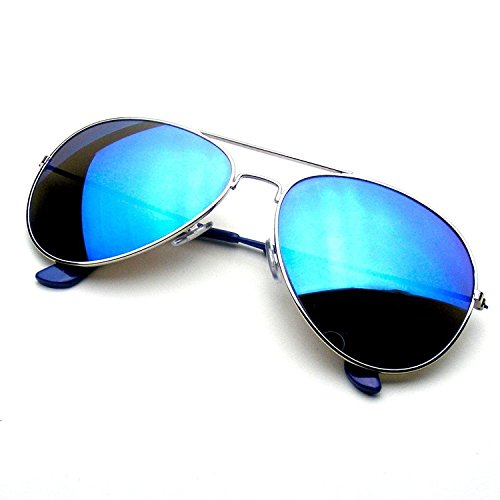 G8iWear Unisex Tinted Mirrored Lenses Metal Frame Lightweight Aviator Sunglasses,Mirrored Lenses | Blue Ice One Size Fits Most