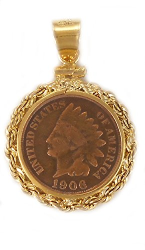 - Flintski Jewelry COIN Bezel Pendant Gold Filled Rope Indian Head Penny