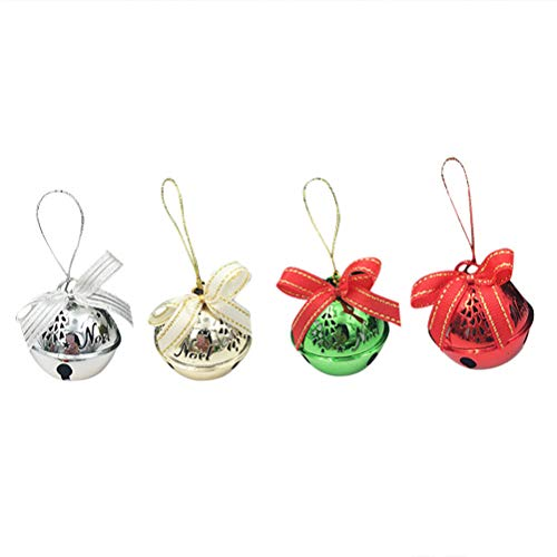 mas Ball Ornaments Trees Decoration Hanging Bells Bowknot Iron Hanging Decorations (Golden+Silver+Red+Green) ()