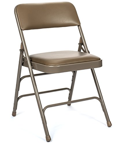 Series Folding Table Banquet (Commercial Vinyl Padded Folding Chair, Triple Cross Bracing, Quad Hinging, 300 lb Tested, 4 Pack (Beige))
