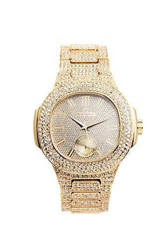 (Bling-ed Out Oblong Case Metal Mens Watch - 8475 - Gold/Gold)