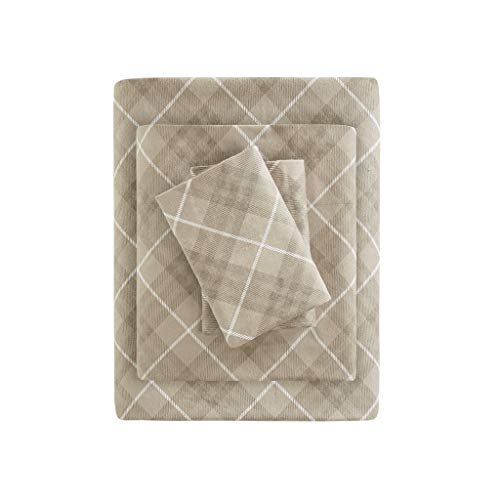 True North by Sleep Philosophy Cozy Flannel 100% Cotton Ultra Soft Cold Weather Sheet Set Bedding, Queen, Tan Plaid