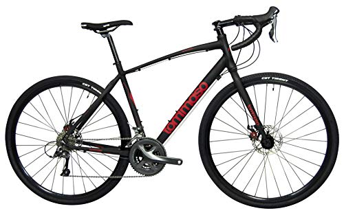 Tommaso Sentiero Shimano Claris Gravel Adventure Bike with Disc Brakes, Extra Wide Tires, Perfect for Road Or Dirt Trail Touring, Matte Black - Medium