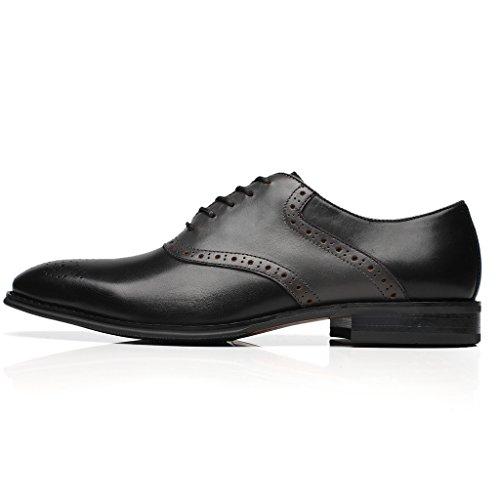 La Milano Heren Oxfords Klassiek Modern Ronde Captoe Tweekleurige Schoenen Doubo-1-zwart / Grijs