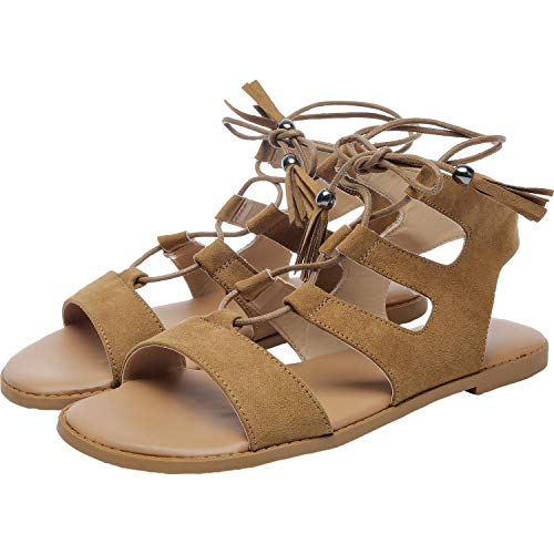 Women's Wide Width Flat Sandals - Gladiator Lace up Open Toe Suede Summer Shoes.(181257,Brown,11.5)
