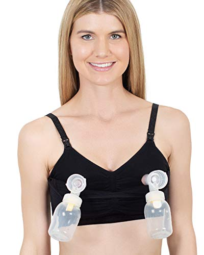 Sublime Hands Free Pumping Bra | Patented All-in-One Nursing/Breastfeeding Bra (Black, X-Large)