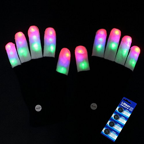 Amazer Kids Light Gloves Kid Children Finger Light Flashing LED Warm Gloves with Lights for Birthday Light Show Party Christmas Xmas Dance Best Great Gifts - Extra a set of Batteries for More Fun (Gifts Children Christmas)