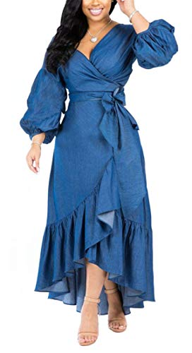 Womens Summer Autumn Casual ins Fashion Deep V-Neck Puff Long Sleeve Irregular Hem Ruffles Floucing Denim Blue Party Club Boho Maxi Swing Dress Blue XL
