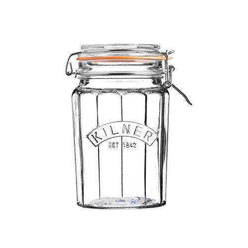 Kilner Glassware Facetted Clip Top Jar, 33-1|2-Fluid Ounces