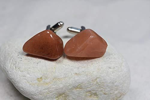 - Peach Quartz Stone Cufflinks