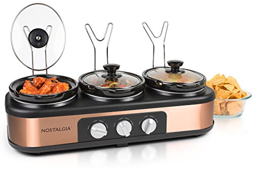 Nostalgia TSC15 Triple Slow Cooker Buffet Server, Copper (Small Server Buffet)