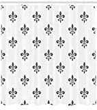 family room decorating ideas Ambesonne Fleur De Lis Decor Collection, Fleur De Lis Royal Lily in Simple Old Decorating Style Ornate Antiquity Image, Polyester Fabric Bathroom Shower Curtain Set with Hooks, Grey White