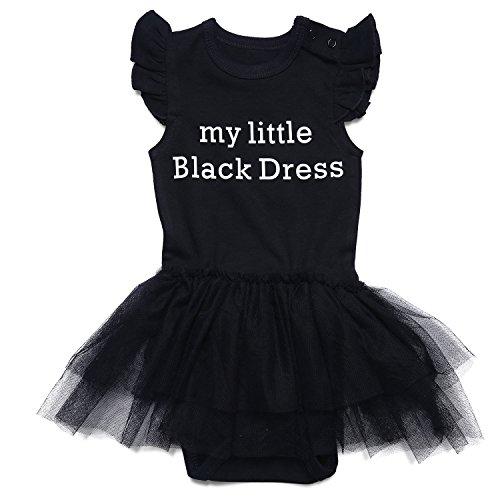 Romperinbox Baby Girls Lace Tutu Bodysuit-My Little Black Dresse (3-6 Months)