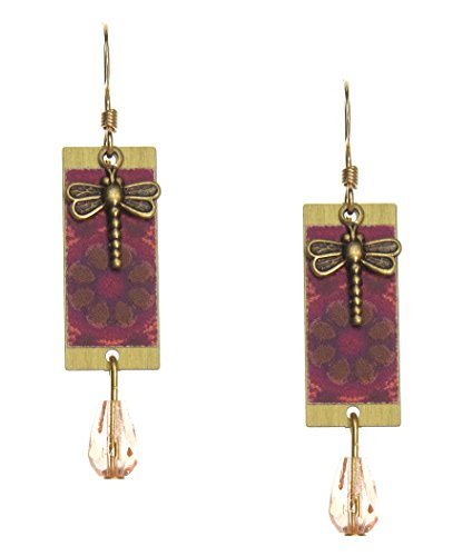 Lemon Tree Pink Pattern Earrings With Dragonfly Charm and Cabochon 4782