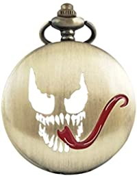 The Nightmare Before Christmas Pocket Watch Horrible Evil Long Tongue Pattern Retro Steampunk Mechanical Quartz Watch for Charismas Halloween Party