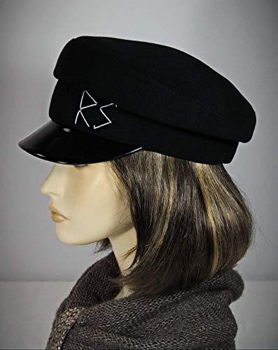 noir-1 Beret cap flat leather man or woman Michigan Chevrette