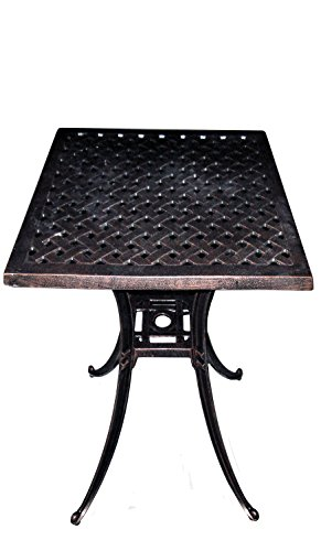 ATC Design Antique Bronze Solid Cast Aluminum Square Bar H Table, 36'' L x 36'' W x 40'' H by American Trading Company