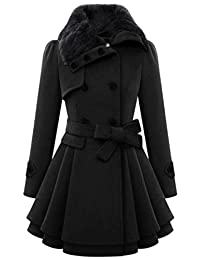 Fulok Womens Trendy Double Breasted Wool Pea Coat Notched Lapel Overcoat