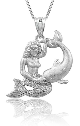 Honolulu Jewelry Company Sterling Silver Diamond Cut Mermaid & Dolphin Necklace Pendant with 18