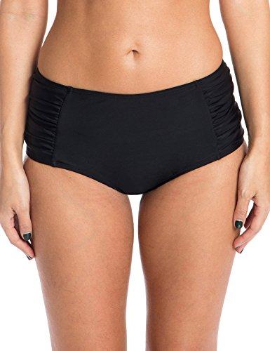 Ocean Blues Women's Swim Standard Ruched Midrise Bikini Bottom, Black, Small Victoria Swim Bottom