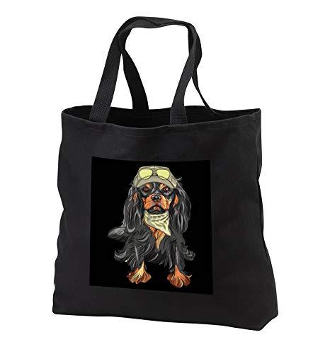 - Sven Herkenrath - Animal - Portrait of a Funny Cavalier King Charles Spaniel Dog with Baseball Cap - Tote Bags - Black Tote Bag JUMBO 20w x 15h x 5d (tb_290746_3)