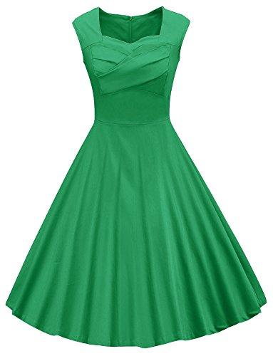 VOGVOG Women's 1950s Retro Vintage Cap Sleeve Party Swing Dress, Green, XX-Large