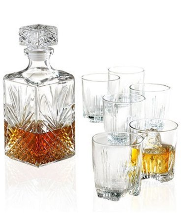 Bormioli Rocco Selecta 7 Piece Whiskey Gift Set includes Decanter and 6 Double Old Fashioned Rocks Glasses